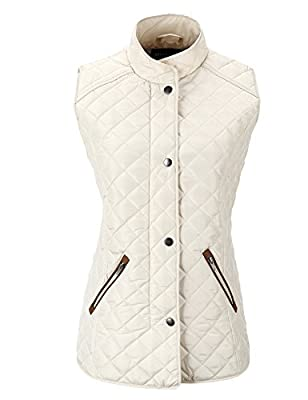 Bellivera Women's Stand Collar Lightweight Gilet Quilted Puffer Padded Sleeveless Vest Jacket for Spring and Winter by