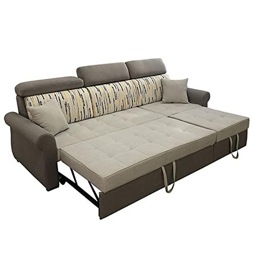 Tolalo Cama con Forma de sofá en Forma de L, sofá de Esquina Convertible Durmiente con Cama de extracción y Espacio de Almacenamiento Grande, sofá Perezoso para la Sala de Estar (Gris)