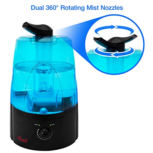 Rosewill Ultrasonic Cool Mist Humidifier for Bedroom Filter Free with No Noise Adjustable Dual Nozzle Mist Outlet 5 Liter / 1.3 Gallon, Black, RHHD-14002