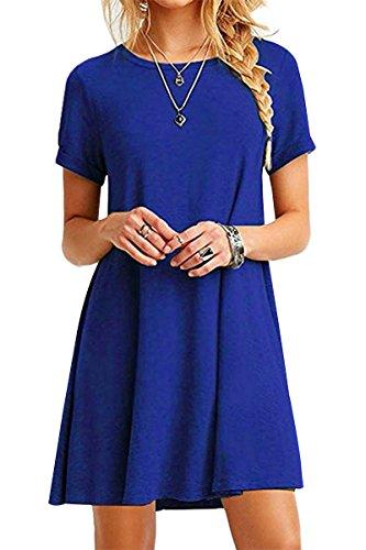 YMING YMING Damen Langes Shirt Basic Longshirt Casual Kurzarm Tunikakleid Shirtkleid Blau S/DE 36