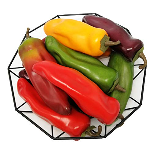 J-Rijzen 10pcs Fake Chili Pepper Artificial Vegetables Vivid Mixed Colors Artificial Hot Peppers for Home Kitchen Fruit Shop Supermarket Desk Decorations Or Props