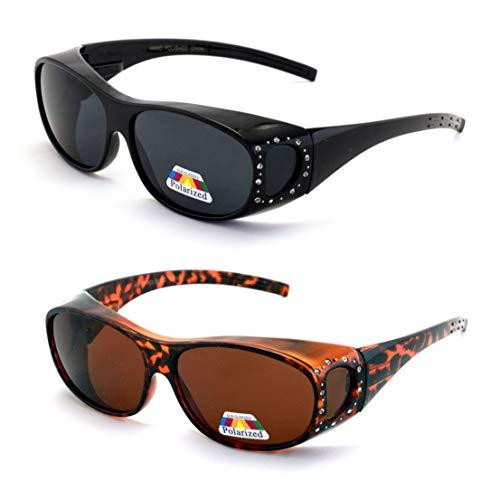 V.W.E. 2 Pairs Womens Polarized Fit Over Glasses Sunglasses Rhinestone Rectangular Frame Temple Heart