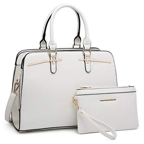Dasein Women Satchel Handbag Shoulder Purse Top Handle Work Bag Tote Bag With Matching Wallet (White)