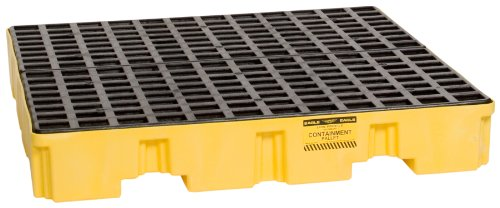 Eagle 1645 Yellow and Black Polyethylene 4 Drum Low Profile Spill Containment Pallet with Flat Top Grating, 8000 lbs Load Capacity, 51.5