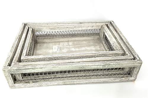 takestop® Opbergmand van licht hout, 3 stuks, voor planken, rechthoekig, voor keuken en kantoor