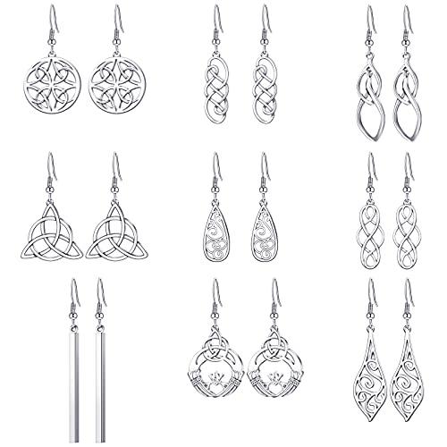 9 Pairs Celtic Knot Dangle Earrings Silver Knot Drop Earrings Hook Earrings