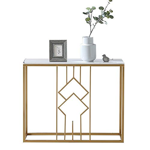 OuPai Table Console Table,Marble Entrance Cabinet Living Room Iron Art Side Table Hall Hotel End View Station Gold 30 × 11 × 29 Inch for Living Room Bedroom (Color : A)