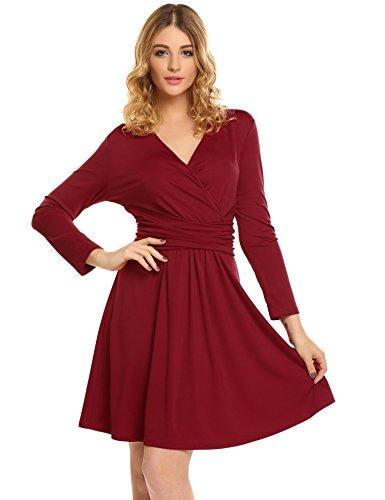 Meaneor Damen Shirt Kleid Jerseykleid Elegant Shirtkleid Strickkleid Cocktailkleid V-Ausschnitt...