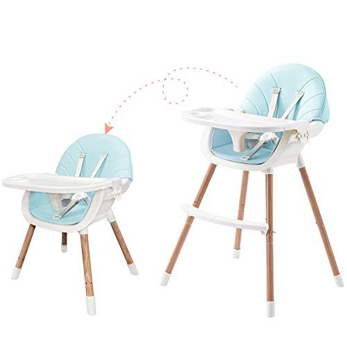 Novhome Baby Kinder Hochstuhl verstellbar Sitze für Kleinkinder mit 5 Punkt Sicherheitsgurt, abnehmbar Tablett, PU Kissen, Holz Beine, Kinderhochstuhl Babystuhl ab 6 Monate bis 5 Jahre (Blau)