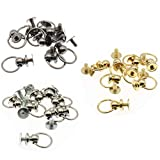 Screwback Round Head Rivet,LBTODH 24pcs Rivets for Leather with Pull Ring DIY Accessory for Handbags/Belts/Leather Goods/Bags/Hats etc.(Silver/Gold/Gun-Color)