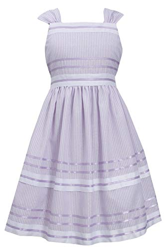 Bonnie Jean Big-Girls Tween Lavender-Purple White Metallic Pencil Stripe Ribbon Linen Dress, Lavender, 8