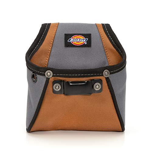 Dickies 57101 Rigid Nail/Screw Work Pouch with Tape Measure Clip, Universal-fit Steel Clip for Tool Belt, Riveted Seams Built to Last