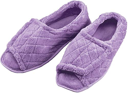 EasyComforts Quilted Chenille Adjustable Toe Slippers Lavender