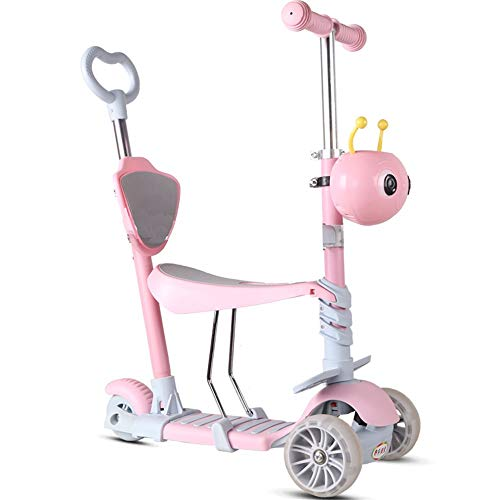 ZHIJINLI Scooter Children's Three-in-One Slider 1-2-3-4-6 Years Old Baby Can Sit Can Push 3 Rounds of Flash (Pink) Widened Color Wheel Putter