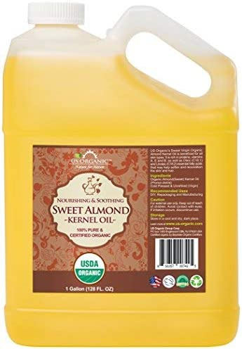 US Organic Sweet Almond Kernel Oil Bulk pack USDA Certified Organic 100 Pure Natural Cold Pressed product image
