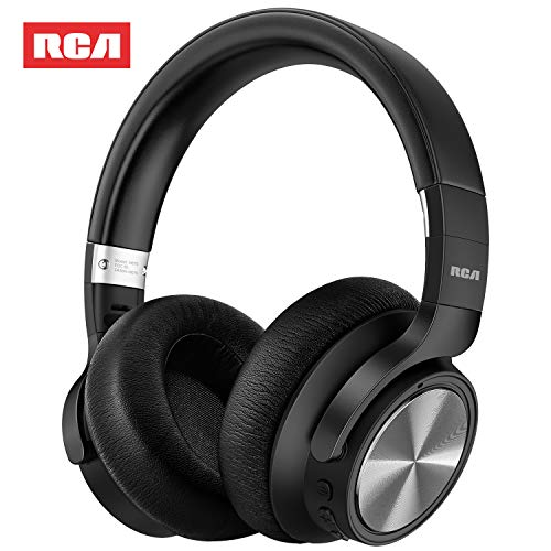 Active Noise Canceling Headphones, RCA Over Ear Wireless Bluetooth Headset with CVC 6.0 microphone, 30Hrs Playtime Fast Charge, Foldable Soft Protein Earpads Earphones for Travel Work TV PC Phone