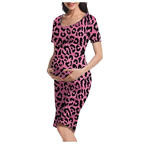 Vuncio Vestido de maternidad de verano, tallas grandes, manga corta, con flores, maxivestido para mujer, para embarazadas, tiempo libre, informal, elegante, para la playa leopardo rosa. 38