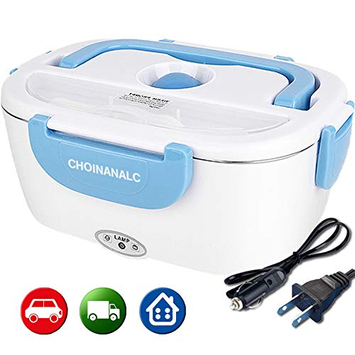 CHOINANALC Electric Lunch Box, 12V & 110V 40W Removable Food-Grade Stainless Steel Container Portable Food Warmer Heater for Car Truck Home Work Use