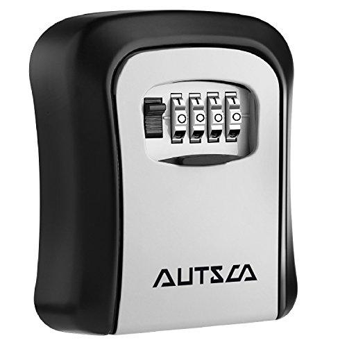 autsca Lock de llaves montado en la pared clave caja fuerte Lock caja de almacenamiento de 4dígitos combinación clave interior al aire libre