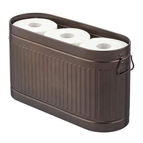mDesign Portarrollos para papel higiénico con capacidad para 6 rollos de repuesto – Soporte de metal móvil para papel higiénico – Compacto soporte para baño o aseo de invitados – color bronce