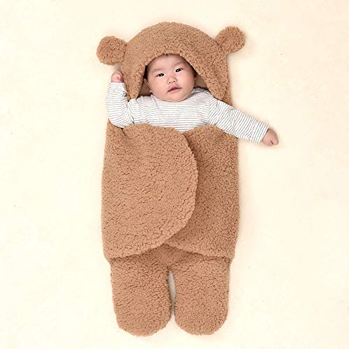 Neutral Swaddle Blanket Baby Sleeping Bag 0-6 Months, Newborns, Autumn And Winter, New Cotton, 襁褓 Hood@Brown (Thick)_0-3 Months Child Comfort Quilt