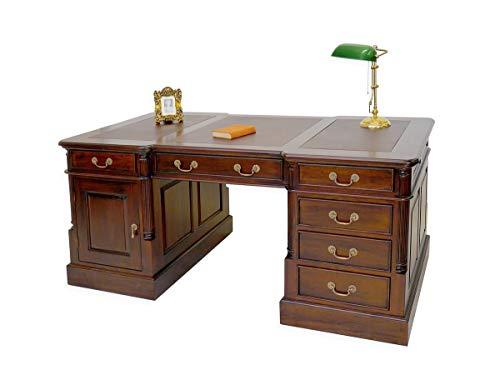 Antike Fundgrube Partner-Schreibtisch aus Massivholz mit brauner Lederauflage | Partnerdesk Büromöbel | dunkler Nussbaum-Farbton | B: 180 cm (2927)