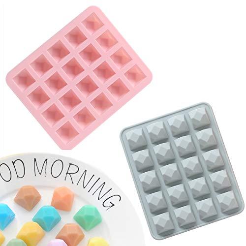 KENAST Molde de silicona con forma de diamante, 20 cavidades, para pastel de chocolate, gelatina y pudín, juego de 2 (azul y rosa)