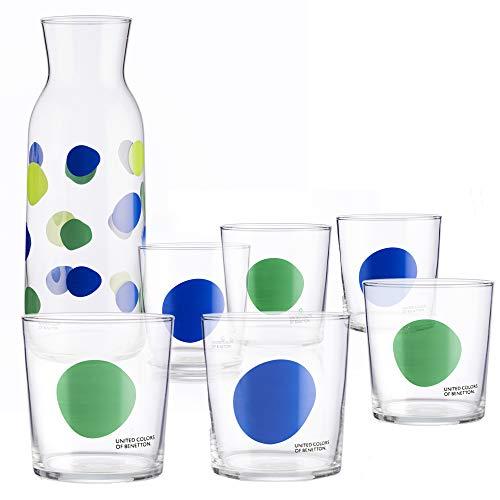 UNITED COLORS OF BENETTON. PK2003 Set cristalería 7 Piezas: Jarra 108 6 Vasos de Vidrio, Decorados a Juego, 33 cl, Cristal, Puntos