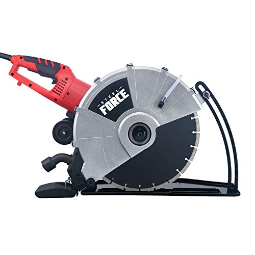 Steel Force KPC 3551 Portable 14  Wet Dry Electric Corded Circular Concrete Saw Power Angle Cutter 2600W w Water Line & Guide Roller (With Blade)