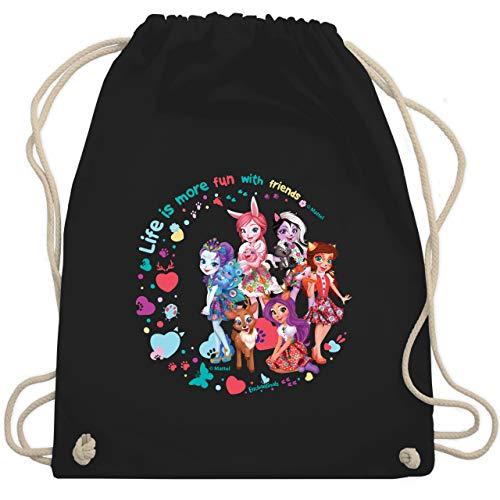 Enchantimals Tasche - Life is more fun with friends - Gruppe - Unisize - Schwarz - bree - WM110 - Turnbeutel und Stoffbeutel aus Baumwolle