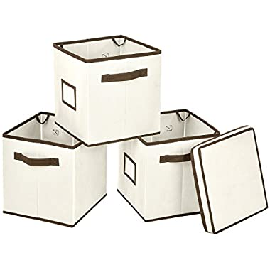 MaidMAX Foldable Storage Cubes Bins with Label Holders and Dual Handles, Set of 3 with One Lid