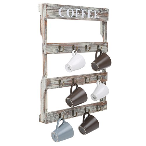 MyGift 12-Hook Rustic Wall-Mounted Wood Coffee Mug Holder, Kitchen Storage Rack, Brown