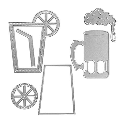 Metal The Lemon is On The Cup with Straw Cutting Dies,Beer Glass Die Cuts Embossing Stencils Template Mould for Card Scrapbooking and DIY Craft Album Paper Card Decor