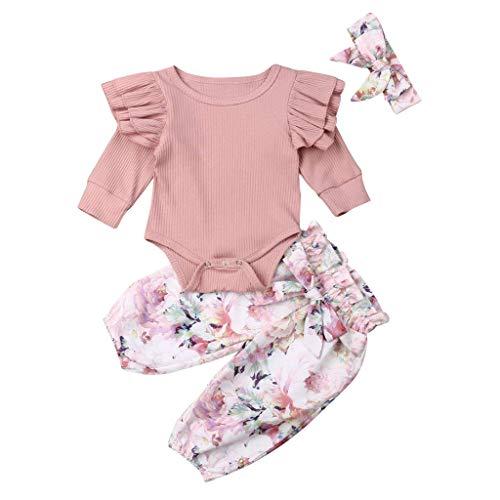 Kleinkind Baby Mädchen Rüschen Ärmel Strampler Tops + Floral Pants + Stirnband Kleidung Outfit