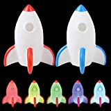 Kicko Rocket Night Light - 2 Pack, Red and Blue - Spaceship Lamp - for Party Favors, Planetariums, Bedroom and Home Decoration, School Science Projects, Battery Powered 5 Inch Nightlight
