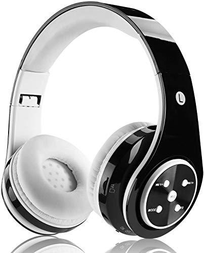 Kabellose Bluetooth Kopfhörer für Kinder Jugendliche ab 5 Kabelloser Kopfhörer Over Ear mit Lautstärkebegrenzung inkl. Radio on Ear drahtloser Faltbarer Kopfhörer mit Mikrofon HiFi Stereo (Schwarz)