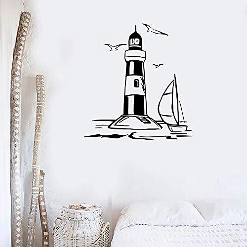 Faro Vinilo Tatuajes De Pared Náutico Etiqueta De La Pared Sala De Estar Marina Casa De Playa Decoración Decoración Del Hogar Vacaciones 42X44Cm