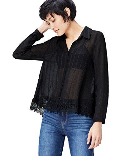 find. Bluse Damen mit Spitzensaum, Streifenmuster und kastenförmiger Silhouette, Schwarz (Black), 38 (Herstellergröße: Medium)