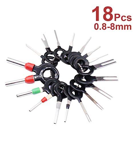 Shuny 18 Unids/Set Herramientas de Eliminación de Terminales,Cableado Eléctrico Conector de Engarce de Pin Kit,Cableado de Cable Eléctrico del Coche Crimp Connector Pin Extractor Kit