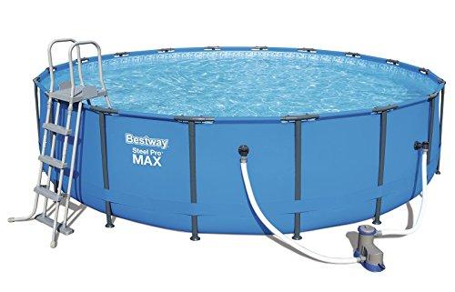 Bestway Steel Pro MAX Frame Pool Komplettset rund, mit Kartuschenfilterpumpe, Leiter, Boden- und Abdeckplane, 549x122 cm, blau