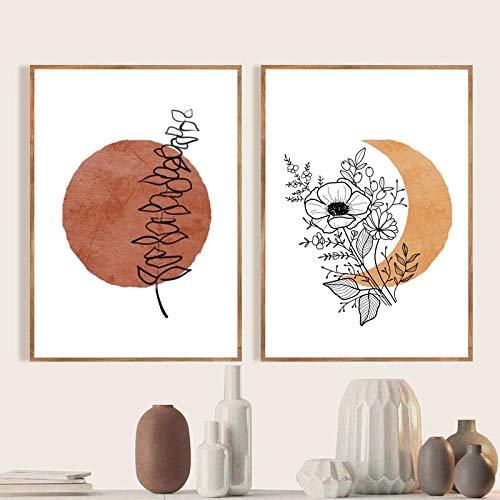 Poster Abstractos de Boho Sol y Luna Paisaje Arte de la Pared Flor de eucalipto Plantas Línea Poster e Impresiones Dormitorio Pintura para el hogar Decoracion 40x50cmx2 Sin Marco