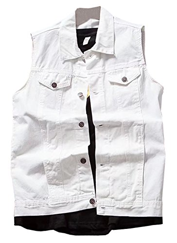 LifeHe Men's Retro Ripped Denim Sleeveless Jean Vest and Jacket White (White, M)