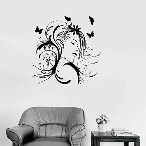 jiushivr Hübsche Frau Vinyl Wandtattoo Schönheitssalon Frisur Schmetterlinge Wandaufkleber Schlafzimmer Dekoration Für Wohnzimmer 57x57 cm
