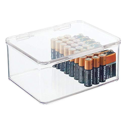 mDesign Small Stackable Divided Battery Storage Organizer Box with Hinged Lid for AA, AAA, C, D, 9 Volt Sizes - Great Storage for Kitchens, Home Offices, and Utility Rooms - Clear