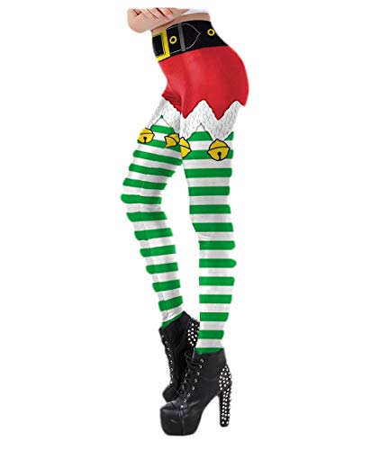 Abetteric Women Christmas Digital Print Fit Footless Stylish Pants Leggings Pattern18 S