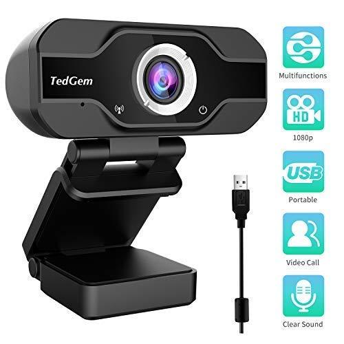 PC Webcam, TedGem 1080P Full HD Webcam USB Desktop & Laptop Webcam Live Streaming Webcam with Microphone Widescreen HD Video Webcam 90-Degree Extended View for Video Calling (HD Webcam)… (Black)