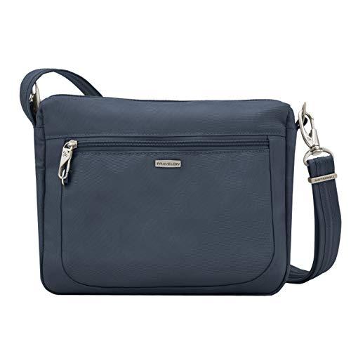 Travelon Women's Anti-Theft-Class Small East/West Crossbody Bag, Midnight, 10.5 x 8 x 2.5