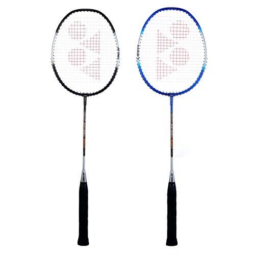 Yonex ZR 100L Aluminium Strung Badminton Racquet (Black/Blue) with Full Cover,Set of 2