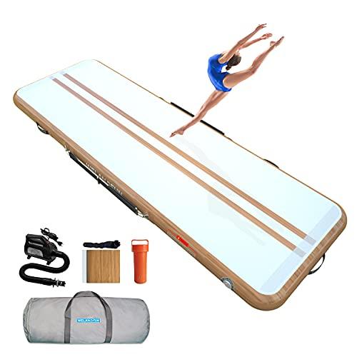 WelandFun Tumbling - Colchoneta hinchable para gimnasia de 3/4/5/6 m, de fibra de carbono, 10/15/20 cm de grosor, colchoneta de gimnasia, colchoneta inflable para yoga, taekwondo, con bomba