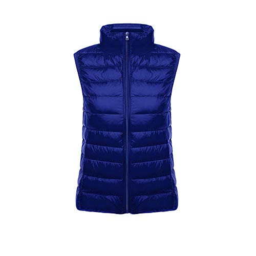 CHIYEEE Packbar Damen Daunenweste Jacke Gilet Puffer Coat Ultraleichter Zip Up Puffer Coat Pufferjacke MarineBlue L